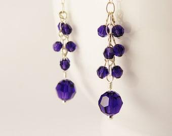 Purple Velvet Swarovski Crystal  Earrings  /  Sterling Silver / Winter