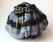 Vintage 40s Blue & Gold Woven Drawstring Purse Handbag