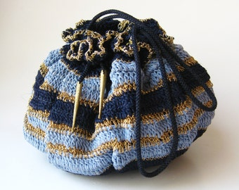 Vintage 40s Blue & Gold Woven Drawstring Purse Handbag