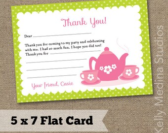 Tea Party Birthday Thank You Note Card  5 x 7 - Pink and Green - Printable Digital Note Card - Personal Use Only