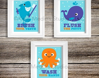 Sea Animal Bathroom Nursery Art Print Set 8x10 Kids Bathroom Decor Baby