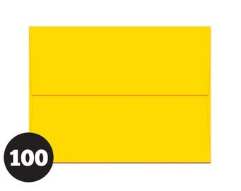 A1 Yellow Envelopes for RSVP and Announcements, Photos and Note Cards 4 BAR Yellow, Sunny Yellow Solar Yellow, Rich Yellow, Pack of 100