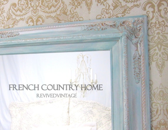 French country home french provincial furniture by for Teal framed mirror