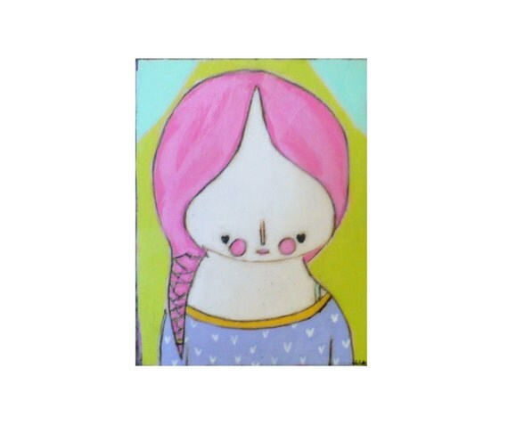 Art, Colorful, Spring décor, beautiful nursery wall décor, girl, bright pink, lime green, pink hair, mixed media painting, hipster art