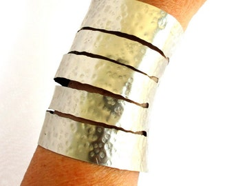 Wide hammered cuff, modern tribal arm band, silver artisan cuff bracelet