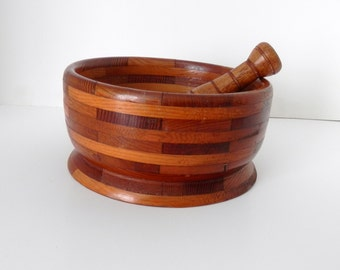 Wooden Pestle and Bowl - Multi -Wood Bowl and Pestle - Vintage Wooden Bowl