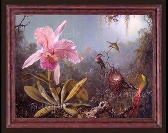 Orchids And Humming Birds Miniature Dollhouse Art Picture 6082