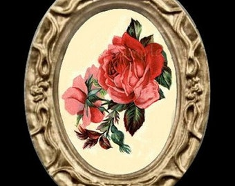 Red Roses Miniature Dollhouse Art Picture 6518