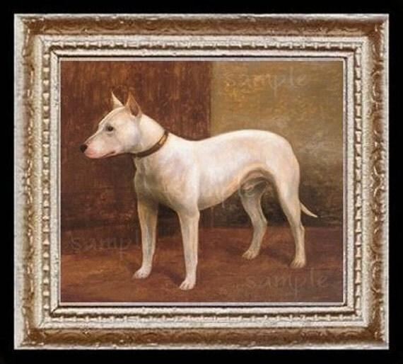 Bull Terrier Dog Miniature Dollhouse Art Picture 6359
