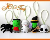 Felt Halloween Ornaments PDF pattern - Set B - Spider / Frankenstein / Mummy / Witch / Skull