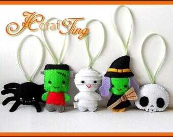 Felt Halloween Ornaments PDF pattern - Set B - Spider / Frankenstein / Mummy / Witch / Skull