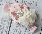 Egg Hunt Extravagance - pink and ivory rosette, satin rosette and lace bloom headband with feather