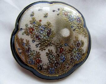 Victorian Floral Satsuma Brooch