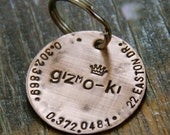 """Custom Pet ID Tag - 1.25"""" Weathered Copper with Design Stamp"""