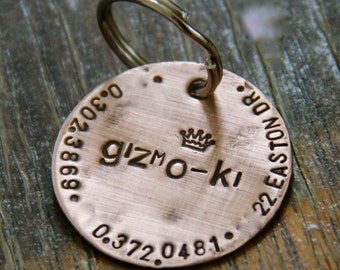 "Custom Pet ID Tag - 1.25"" Weathered Copper with Design Stamp"
