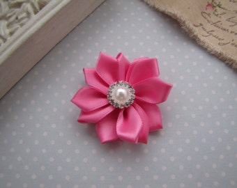 Flower Girl . satin ribbon flower . clippie . girls hair accessory . pink . choose your clip style