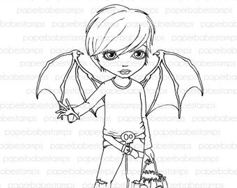 Digital Stamp - Dillon with Batwings - Digital image for papercrafts