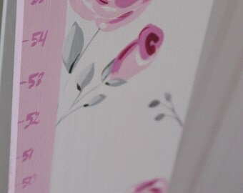 Wooden Growth Chart- Personalized and Handpainted- CHIC ROSE Theme