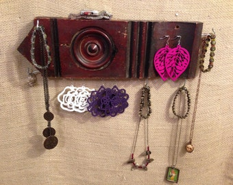 Upcycled Jewelry Organizing Display (Dark Wood Architectural Medallion)