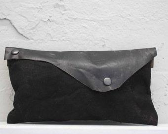 Black Leather Clutch/ Canvas Clutch Bag/ Pouch/Purse/ Edgy Bags