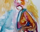 Southern Belle Series- 11x15- Original Figure Sketch and Watercolor- Fresh, Abstract