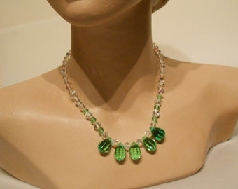 Blades of Springtime Grass - Vintage 1950s Facet Cut Crystal Green & Clear Teardrop Necklace