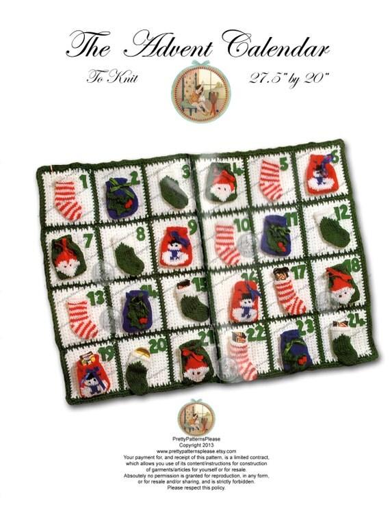 Advent Calendar Handmade Knitting : Advent calendar to knit and crochet instant download pdf