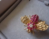 RESERVED For CL Ruby & Diamond 14K Gold Bee Pin Bumblebee Brooch Do NOT purchase