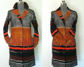 Fitted Corduroy Coat Multicolored Ombre Earthtones Vintage 1990s Fall Autumn Fashion