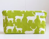 cosmetic bag. apple woodland elk. wet bag. waterproof. make up bag.