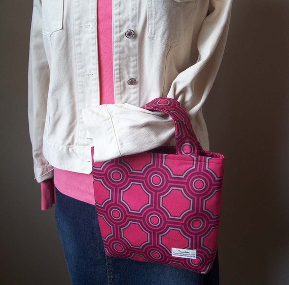 Mini Tote with Joel Dewberry's Square Tiles in Raspberry