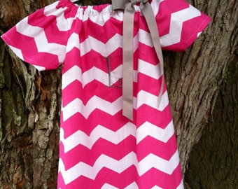 Pink Chevron Peasant Dress