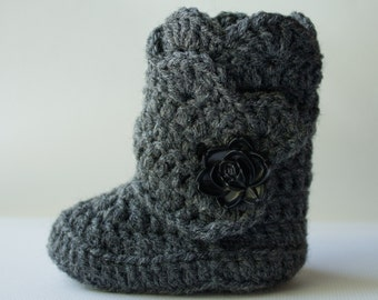Grey Infant Crochet Shell Wrap Boots- Choose Your Size