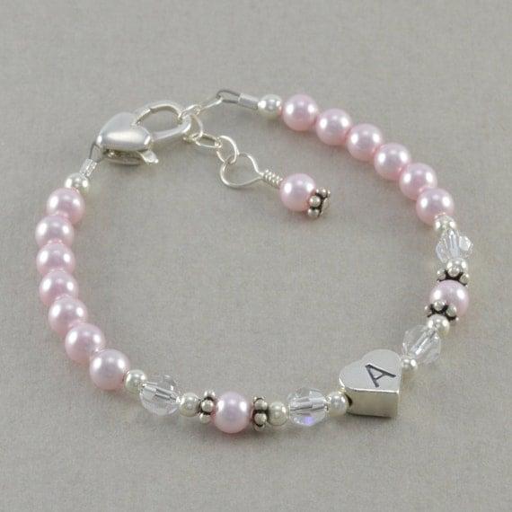 Pink Pearl Bracelet little girls jewelry 1st birthday ...
