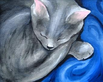 Gray Cat - Moon Cookie Gallery Print