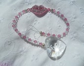 Swaorovski Crystal Clear Heart and Pink Lips Sun Catcher