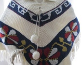 1960s Vintage Heavy Weight Ivory Navy Burgundy Poncho with Collar Womens Medium