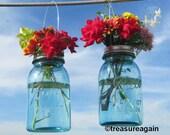 2 Hanging Mason Jar Vases with Flower Frog Lids, Wedding Mason Jars, Ball Hanging Lanterns, Mason Jar Wedding Decor Antique Blue Flower Jars