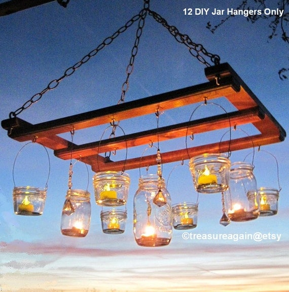 Mason Jar Chandelier DIY Candles Lanterns Luminaries Wide Mouth Ball Jar Wires Upcycled Lighting Garden Party Weddings, Jar Hangers Only