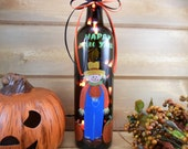 Lighted Wine Bottle Scarecrow Happy Fall Y'all Hand Painted 750 ml