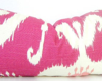 Pink Ikat Pillow Cover, Pink Lumbar Pillow Cover, Ikat Pillows, Pink and White Ikat, Fuchsia Pink and Light Pink, 12x22 Inch Pink Cushion