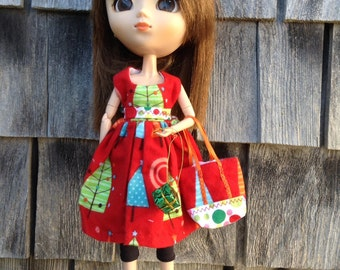 Xmas 5. Square necked flannel tree dress
