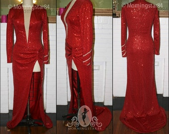 Red Sequin Little Rock Dress- Marilyn -Pinup Showgirl Burlesque-Custom Sized