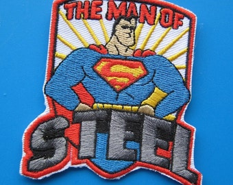 Iron-on Embroidered Patch Man of STEEL 3 inch