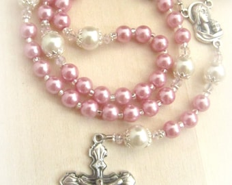 Beautiful Baby Girl Personalized Pink Pearl and Crystal Baptism Rosary