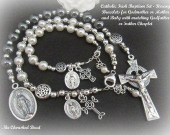 Catholic Irish Baby Baptism Set - Includes Rosary Bracelets for Baby, Godmother/Mother and Chaplet for Godfather/Father