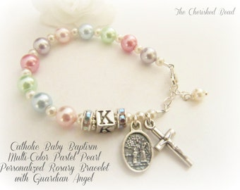 Catholic Baby Baptism Multi-Colored Pastel Pearl Personalized Rosary Bracelet with Guardian Angel Charm