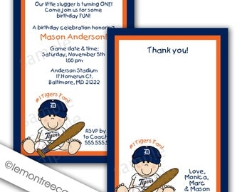 Detroit Tigers Baseball Invitation and Thank you note combo, Baby Shower or Birthday Party, printable digital file