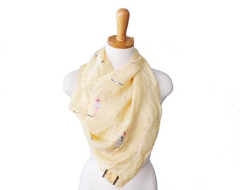 Vintage 50s Gorgeous Ballet Pattern Yellow Fashion Scarf - Kimball Silk Made in Japan - Large NWT Deadstock