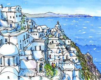 Santorini Fira 2 Greece art print from an original watercolor painting